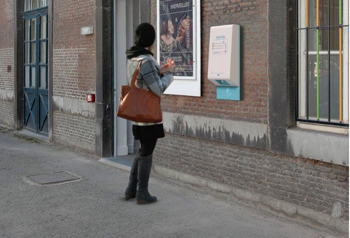 Hydro'lib : borne de distributeur gel hydro-alcoolique pour les mains insertion mural
